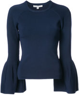 Jonathan Simkhai flared sleeves knitted blouse - women - Nylon/Spandex/Elastane/Rayon - S