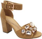 Wild Diva Camel Rhinestone Susie Ankle-Strap Sandal
