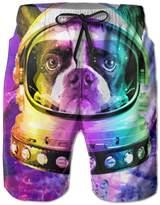 Bmen Rainbow Bulldog Astronaut With Bones Men's Quick Dry Summer Board Shorts M