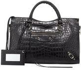 Balenciaga Classic City Crocodile-Effect Shoulder Bag