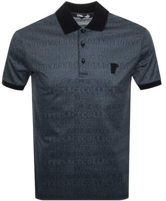 Versace Patterned Polo T Shirt Blue