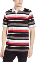 Southpole Men's Single Jersey Polo with Thick Stripes and Contrasting Collar
