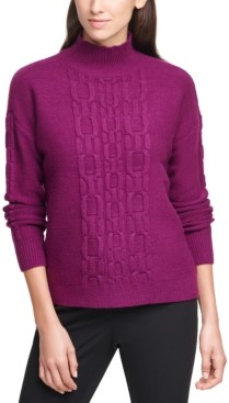 Calvin Klein Solid Chain-Stitched Mock-Neck Sweater