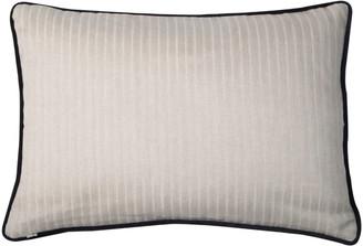 Bivain Cream Linen Rectangular Cushion With Black Velvet Piping