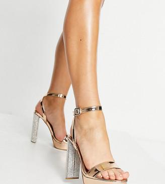ASOS DESIGN Wide Fit Natasha platform barely there heeled sandals in rose gold