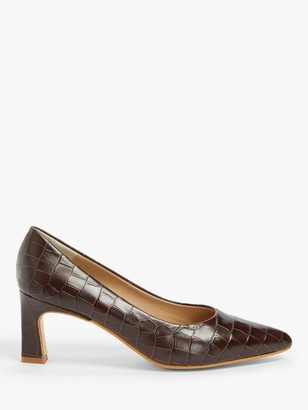 John Lewis & Partners Aeva Leather Flared Stiletto Heel Court Shoes