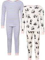 John Lewis Children's Panda Print Pyjamas, Pack of 2, Pink/Blue