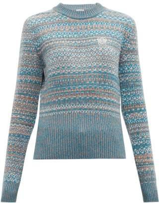 Loewe Logo Embroidered Fair Isle Sweater - Womens - Blue Multi