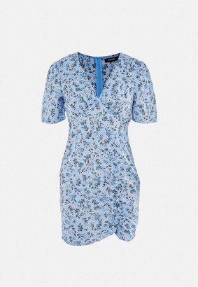 Missguided Blue Ditsy Floral Ruched V Neck Mini Tea Dress