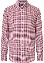 Gant Long Sleeve Poplin Gingham Shirt, Burgundy