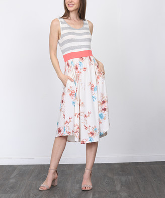 Egs By Eloges egs by eloges Women's Casual Dresses GREY - Gray & Ivory Floral Stripe Sleeveless A-Line Dress - Women & Plus