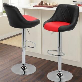 Orren Ellis Marrow PU Leather Counter Adjustable Height Swivel Bar Stool Orren Ellis Color: Red and Black