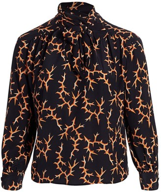 Marion Thorn Print Tie Neck Blouse