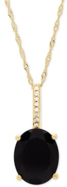 "Honora Onyx (10 x 8mm) & Diamond Accent 18"" Pendant Necklace in 14k Gold"