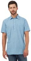 Mantaray Big And Tall Blue Textured Stripe Shirt