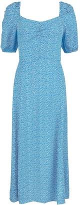 Monsoon Freddy Print Sustainable Midi Dress - Blue
