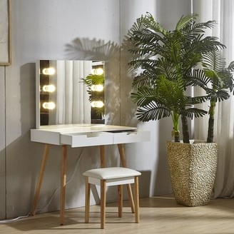 Ebern Designs White Vanity Table With Light Ebern Designs