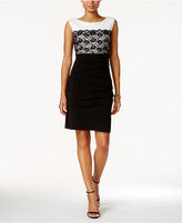 Connected Lace Contrast Sheath Dress