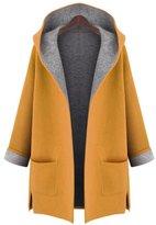 IDIFU Women's Open Front Split Hooded Plus Wool Coat Outerwear -Large