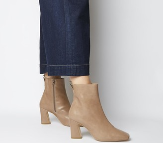 Office Advantage Square Toe Block Heel Boots Taupe Leather