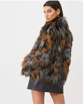 Very Multi Tonal Faux Fur Coat - Black/Multi