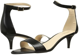 Nine West Leisa Heel Sandal (Black Leather) Women's Shoes