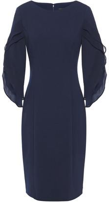 DKNY Ruffled Georgette-paneled Stretch-crepe Dress
