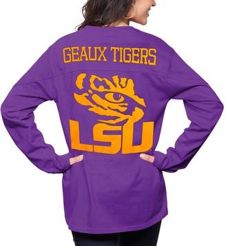 Women's Pressbox Purple LSU Tigers The Big Shirt Oversized Long Sleeve T-Shirt