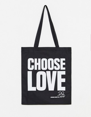 Asos Design Help Refugees Choose Love tote bag in black