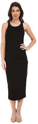 Michael Stars Racerback Dress w/ Shirring (Black) Women's Dress