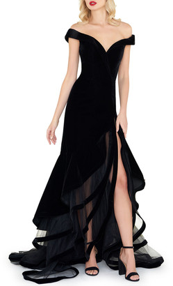 Mac Duggal Off-the-Shoulder Velvet Gown w/ Layered Ruffle Mesh Skirt