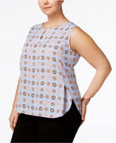 Nine West Plus Size Geo-Print Keyhole Top