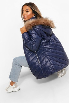 boohoo Petite Faux Fur Trimmed Puffer Coat