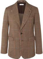 Dries Van Noten Brown Unstructured Prince Of Wales Checked Linen Suit Jacket