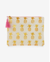 Express slant gold pineapple pouch