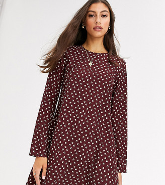 Glamorous Tall long sleeve shift dress in ditsy vintage floral-Red