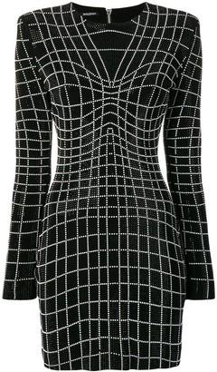 Balmain Rhinestone Optical Illusion Dress
