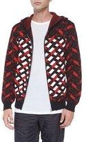 Alexander Wang Fair Isle Jacquard Stripe Zip Jacket, Black