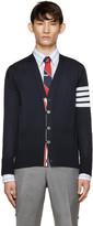 Thom Browne Navy Wool Striped Armband Cardigan