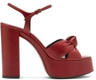 Saint Laurent Bianca Knotted Leather Platform Sandals - Red