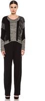 Helmut Lang Ark Suiting Wide Leg Viscose-Blend Trouser in Black
