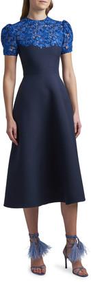 Valentino Lace Puff-Sleeve Midi Dress