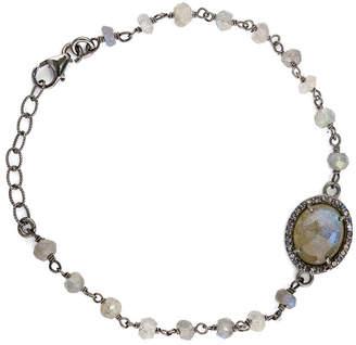 Adornia Fine Silver 3.20 Ct. Tw. Labradorite & Diamond Adjustable Bracelet