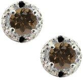 Gem Stone King 0.54 Ct Round Brown Smoky Quartz and Black Diamond 18k White Gold Earrings