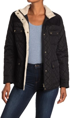 Lauren Ralph Lauren Short Quilted & Corduroy Fleece Trimmed Jacket
