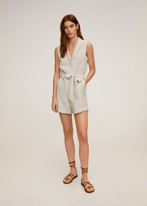 MANGO Bow short jumpsuit light/pastel grey - XS - Women