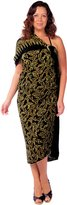 1 World Sarongs Womens Plus Size Fringeless Floral Sarong in Gold/Black