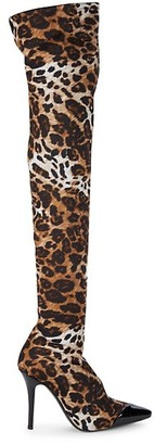 Giuseppe Zanotti Animal-Print High-Knee Boots