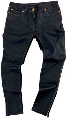 Versace Black Leather Trousers