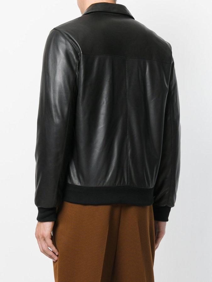 Z Zegna panelled leather jacket